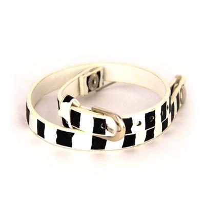 Floating Locket Lederen Armband Zwart/ Wit kopen