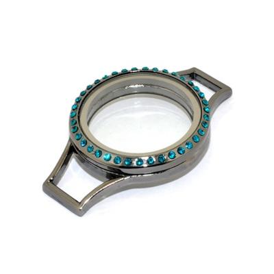 Memory Locket (voor de Lederen Armband) Antraciet met Blauwe Kristal 30mm kopen