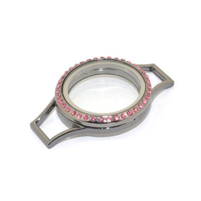Memory Locket (voor de Lederen Armband) Antraciet met Roze Kristal Strass 30mm kopen