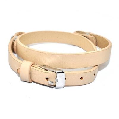 Floating Locket Lederen Armband Beige kopen