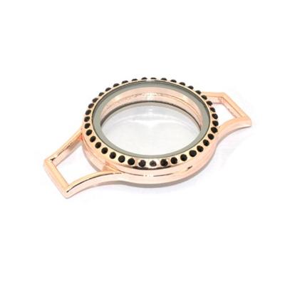Memory Locket (voor de Lederen Armband) Rosé met Zwarte Kristal Strass 30mm kopen
