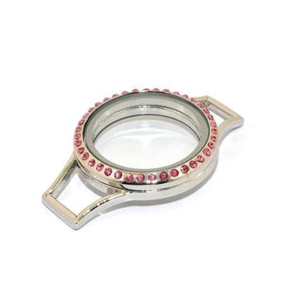 Memory Locket (voor de Lederen Armband) Zilverkleurig met Roze Kristal Strass 30mm kopen