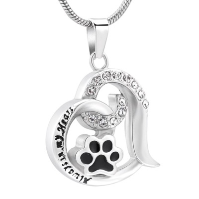 Ashanger Heart with Paw Strass - Always in my Heart RVS kopen
