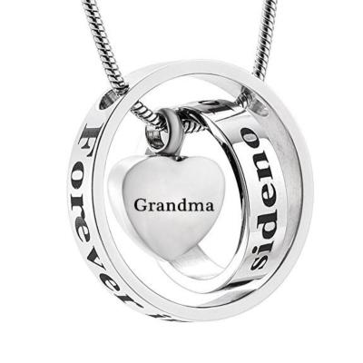 Ashanger Always In My Heart, Never Forgotten - Grandma RVS (incl ketting) kopen