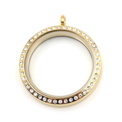 Floating Locket Medaillon Goudkleurig Kristal TWIST XL 34mm (RVS/Edelstaal) kopen