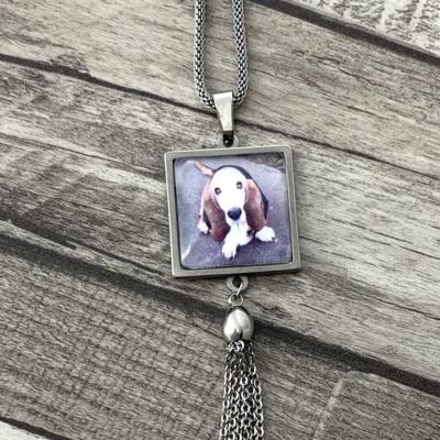 Hanger incl. Ketting met Vierkante Foto 20mm met ketting kwastje (RVS) kopen
