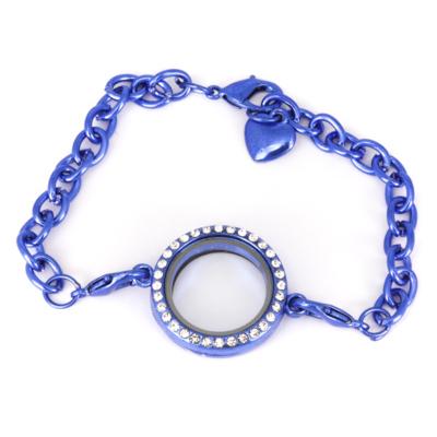 Memory Locket Armband Kristal Strass Blauw 25 mm kopen