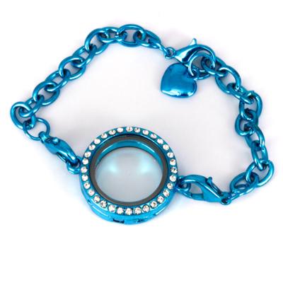 Memory Locket Armband Kristal Strass Turquoise (25 mm) kopen