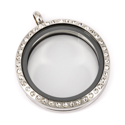 Floating Locket Medaillon Kristal TWIST Zilverkleurig 30mm (RVS/Edelstaal) kopen