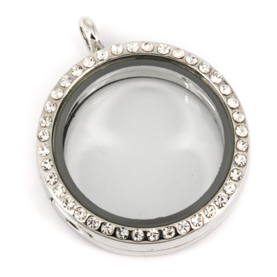 Memory Locket Medaillon Kristal Strass 30mm kopen