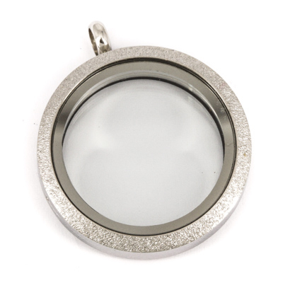 Floating Locket Medaillon TWIST Sparkle Zilverkleurig 30mm (RVS/Edelstaal) kopen