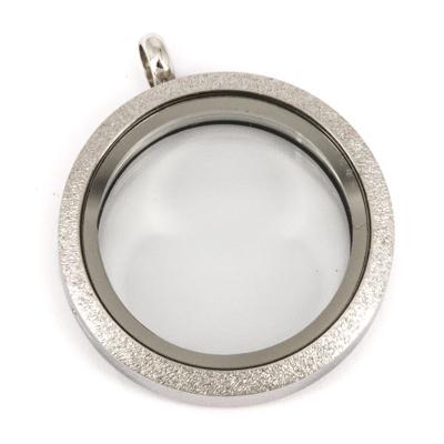 Floating Locket Medaillon TWIST Sparkle Zilverkleurig 30mm (RVS/Edelstaal) kopen