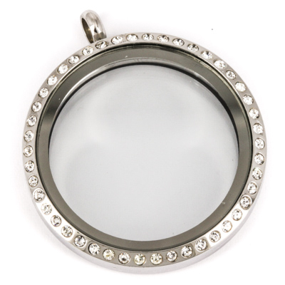 Floating Locket Medaillon Kristal XL 34mm (RVS/Edelstaal) kopen