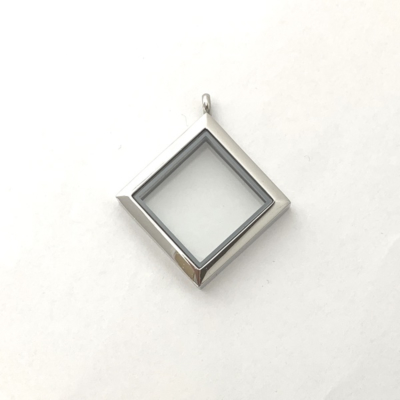 Floating Locket Medaillon Zilverkleurig Vierkant 30mm (RVS/Edelstaal) kopen