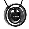 Ashanger Zwarte Dubbele Ringen Hartje - Sister RVS (incl. ketting)