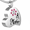 Ashanger Hart Mother Pink Flower RVS (incl. ketting)