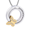 Ashanger Ring met Goudkleurige Vlinder RVS