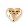 Floating Charm 3D Hart I Love You Goudkleurig