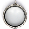 Floating Locket Medaillon Kristal XXL 38mm (RVS/Edelstaal)