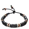 Heren Houten Kralen Armband Dark Brown/White 15-20cm