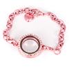 Memory Locket Armband Kristal Strass Licht Roze 25 mm
