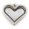 Floating Locket Hart Kristal 35mm (Edelstaal/RVS)