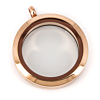 Floating Locket Medaillon Rose 30mm (RVS/Edelstaal)