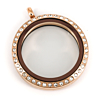 Floating Locket Medaillon Rose Kristal 30mm (RVS/Edelstaal)