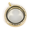 Memory Locket Medaillon Goudkleurig Kristal Strass 30mm