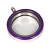Memory Locket Medaillon Twist Paars 30mm (RVS/Edelstaal)