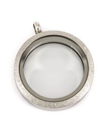 Floating Locket Medaillon Twist Sparkle Zilver 30mm (RVS/Edelstaal) -