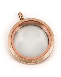 Floating Locket Medaillon Twist Sparkle Rose 30mm (RVS/Edelstaal) -