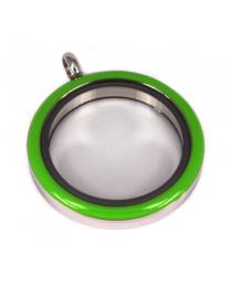 Memory Locket Medaillon Twist Groen 30mm (RVS/Edelstaal) -