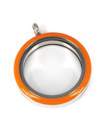 Memory Locket Medaillon Twist Oranje 30mm (RVS/Edelstaal) -