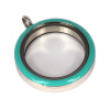 Memory Locket Medaillon Twist Turquoise 30mm (RVS/Edelstaal)