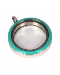 Memory Locket Medaillon Twist Turquoise 30mm (RVS/Edelstaal) -