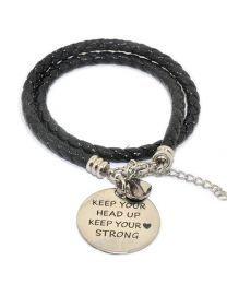 Pinkiezz Armband Zwart - Keep Your Head Up Keep Your Heart Strong -
