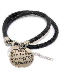 Pinkiezz Armband Zwart - I Love You To The Moon & Back -