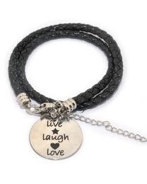 Pinkiezz Armband Zwart - Live Laugh Love -