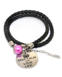 Pinkiezz Armband Zwart - Keep Calm And Love Life  -