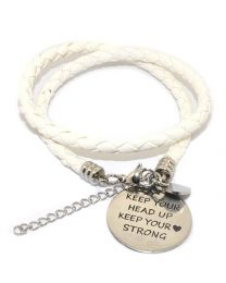 Pinkiezz Armband Wit -Keep Your Head Up Keep Your Heart Strong -