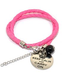 Pinkiezz Armband Roze - Keep Calm And Carry On  -