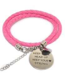 Pinkiezz Armband Roze - Keep Your Head Up Keep Your Heart Strong -