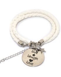 Pinkiezz Armband Wit - Live Laugh Love -