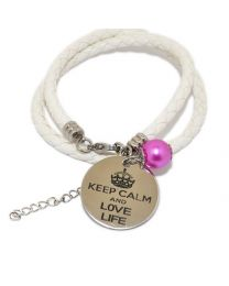 Pinkiezz Armband Wit - Keep Calm And Love Life -