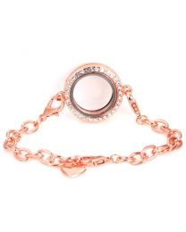 Memory Locket Armband Kristal Rose 25 mm -