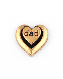 Floating Charm 3D Hart Dad Goud -
