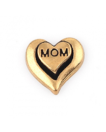 Floating Charm 3D Hart Mom Goud -