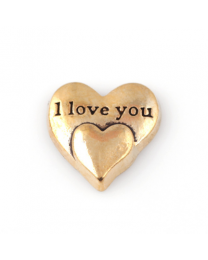 Floating Charm 3D Hart I Love You Goud -
