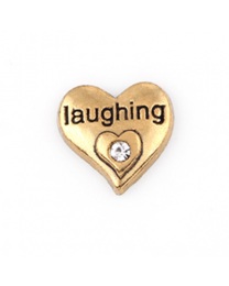 Floating Charm 3D Hart Laughing Goud -